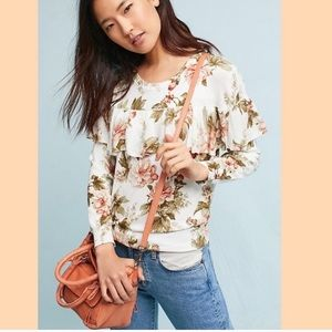 Floral fine gauge pullover from Anthropologie